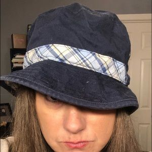 Accessories - Navy and plaid brim hat